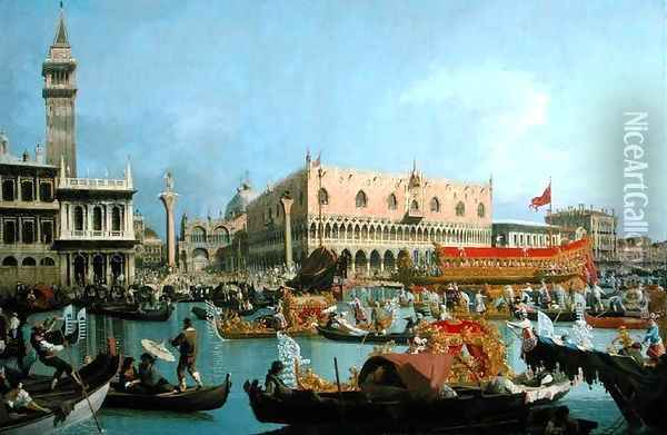 The Bucintoro returning to the Molo Oil Painting - (Giovanni Antonio Canal) Canaletto