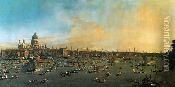 Thames and the City Oil Painting - (Giovanni Antonio Canal) Canaletto