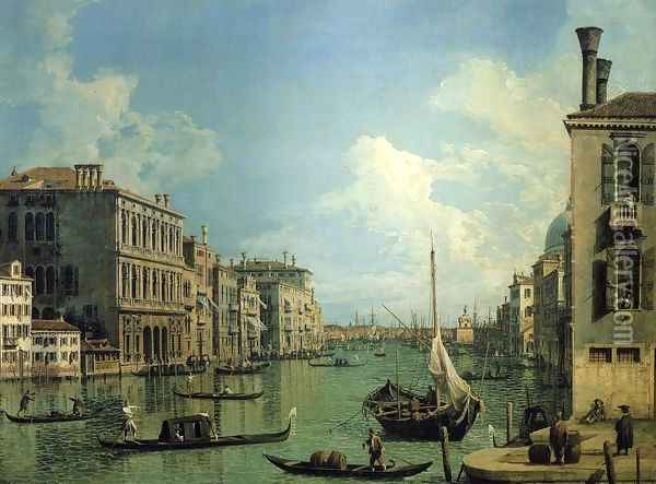 Grand Canal Near the Campo San Vio, Looking Towards the Church of Santa Maria della Salute Oil Painting - (Giovanni Antonio Canal) Canaletto