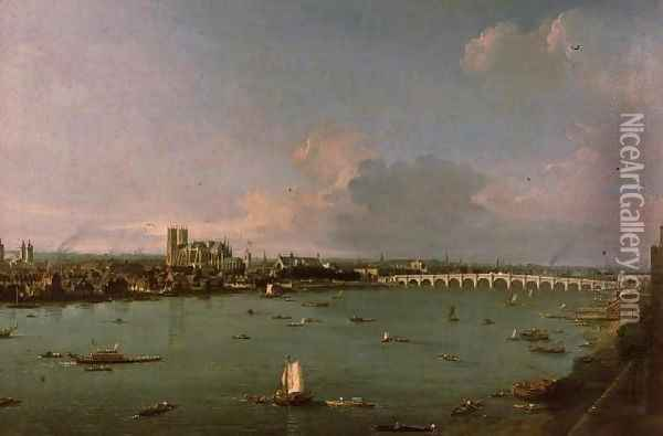 View of the Thames from South of the River Oil Painting - (Giovanni Antonio Canal) Canaletto