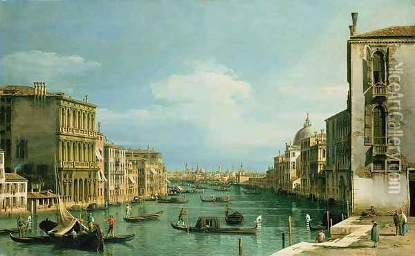 The Grand Canal Venice looking East from the Campo di San Vio Oil Painting - (Giovanni Antonio Canal) Canaletto