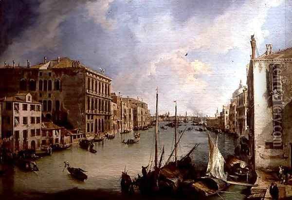The Grand Canal from the Campo San Vio, Venice Oil Painting - (Giovanni Antonio Canal) Canaletto