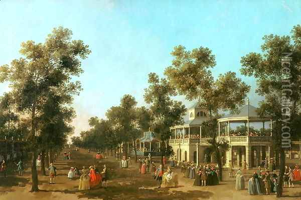 Vauxhall Gardens- the Grand Walk, c.1751 Oil Painting - (Giovanni Antonio Canal) Canaletto