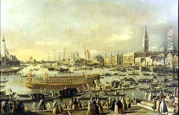 Venice- the Bacino di S. Marco on Ascension Day Oil Painting - (Giovanni Antonio Canal) Canaletto