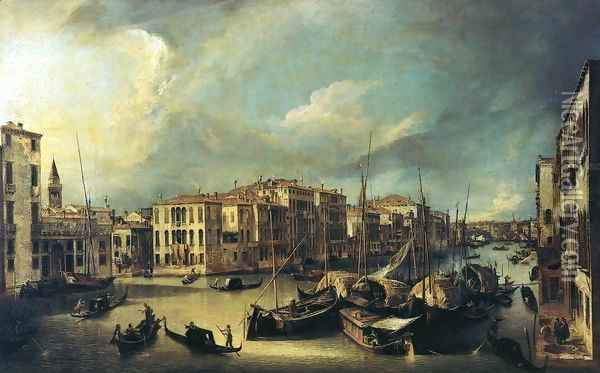 Grand Canal: Looking Northeast from near the Palazzo Corner Spinelli to the Rialto Bridge Oil Painting - (Giovanni Antonio Canal) Canaletto