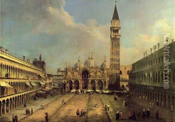 Piazza San Marco: Looking East along the Central Line Oil Painting - (Giovanni Antonio Canal) Canaletto