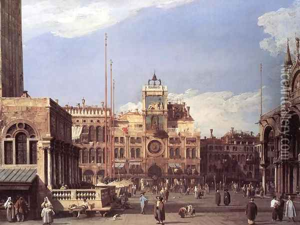 Piazza San Marco: the Clocktower Oil Painting - (Giovanni Antonio Canal) Canaletto