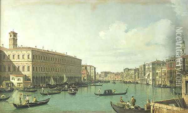 The Grand Canal from the Rialto Bridge Oil Painting - (Giovanni Antonio Canal) Canaletto