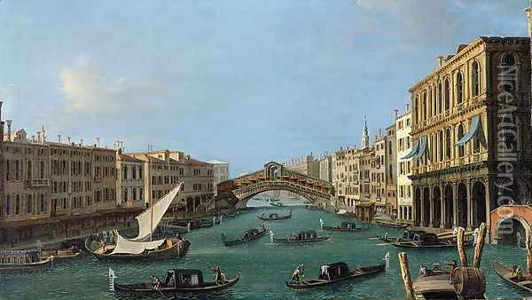 View of the Grand Canal from the South, the Palazzo Foscari to the right and the Rialto Bridge beyond Oil Painting - (Giovanni Antonio Canal) Canaletto