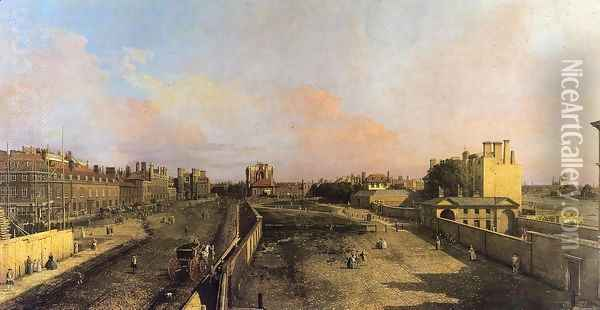 London: Whitehall and the Privy Garden looking North Oil Painting - (Giovanni Antonio Canal) Canaletto