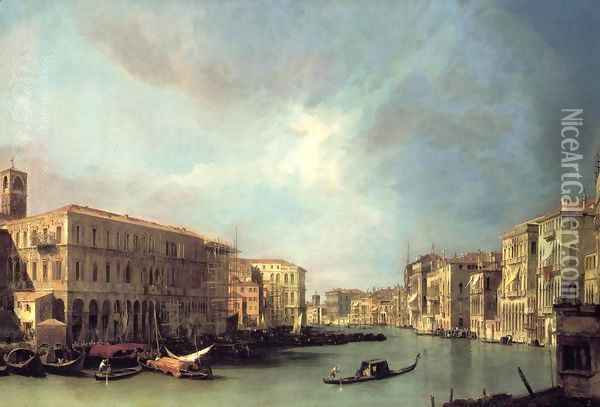 Grand Canal: Looking North from near the Rialto Bridge Oil Painting - (Giovanni Antonio Canal) Canaletto