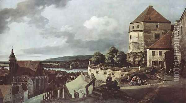 View from Pirna, the sun-stone fortress view Oil Painting - (Giovanni Antonio Canal) Canaletto