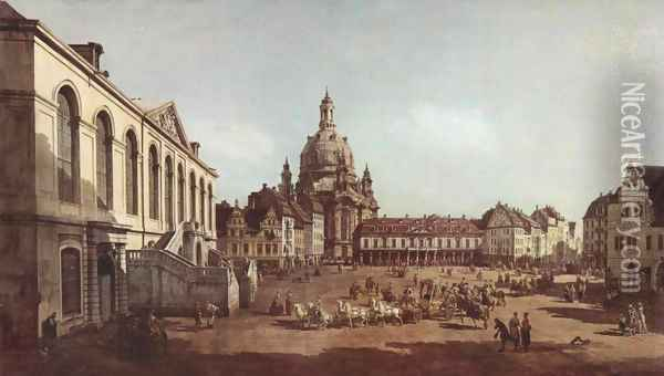 View of Dresden, the Neumarkt in Dresden, Jewish cemetery, with women's Church and the Old Town Watch, detail Oil Painting - (Giovanni Antonio Canal) Canaletto