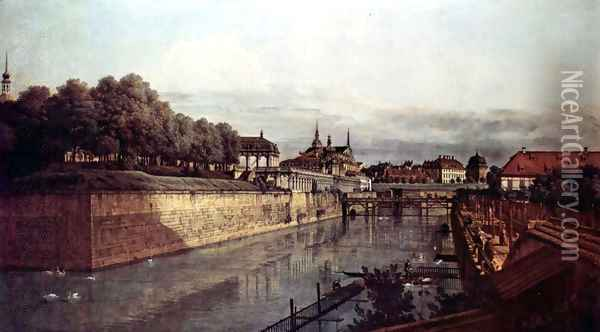 View of Dresden, the ancient moat of the kennel, the Orangerie Oil Painting - (Giovanni Antonio Canal) Canaletto
