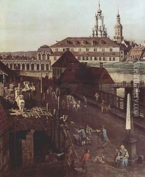 View of Dresden, the fortress plants in Dresden, fortified with trenches bridge between Wilschen gate pillar and pos 2 Oil Painting - (Giovanni Antonio Canal) Canaletto