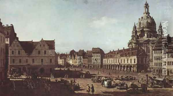 View of Dresden, the Neumarkt Moritz Oil Painting - (Giovanni Antonio Canal) Canaletto
