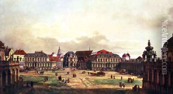 View of Dresden, Zwingerhof in Dresden, from the fortress Oil Painting - (Giovanni Antonio Canal) Canaletto