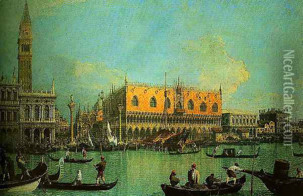 A View of the Ducal Palace in Venice Oil Painting - (Giovanni Antonio Canal) Canaletto