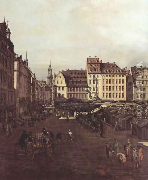 View of Dresden, The Old Market Square from the Seegasse, detail Oil Painting - (Giovanni Antonio Canal) Canaletto