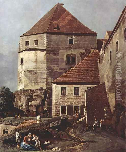 View from Pirna, the sun-stone fortress, Detail Oil Painting - (Giovanni Antonio Canal) Canaletto