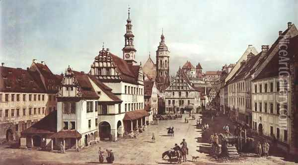 View from Pirna, the market square in Pirna Oil Painting - (Giovanni Antonio Canal) Canaletto