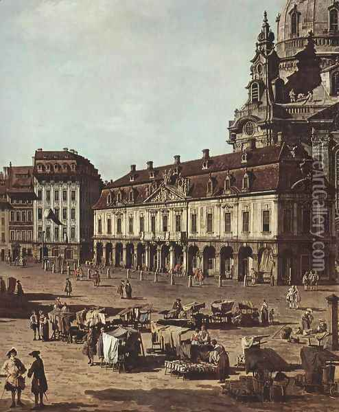 View of Dresden, the Neumarkt Moritz of the road, detail Oil Painting - (Giovanni Antonio Canal) Canaletto