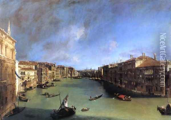 Grand Canal: Looking Northeast from the Palazzo Balbi to the Rialto Bridge Oil Painting - (Giovanni Antonio Canal) Canaletto