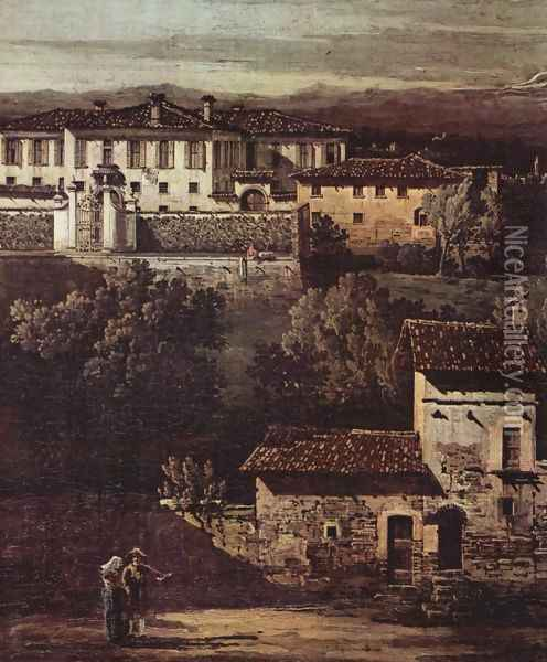 The village Gazzada viewed from southeast to the Villa Melzi d'Eril, detail Oil Painting - (Giovanni Antonio Canal) Canaletto
