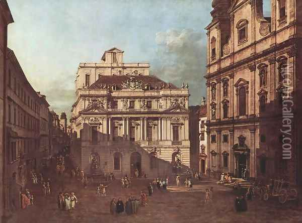 View from Vienna, the square in front of the University of South-East of view, with the large auditorium of the Univ Oil Painting - (Giovanni Antonio Canal) Canaletto