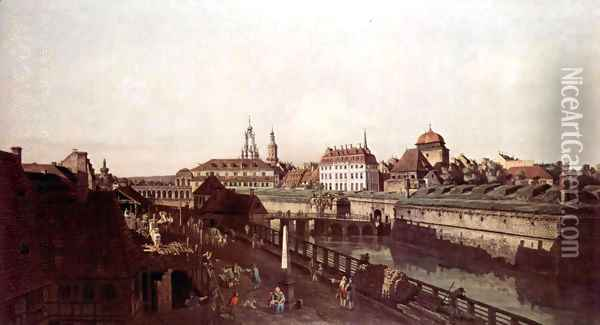 View of Dresden, the fortress plants in Dresden, fortified with trenches Oil Painting - (Giovanni Antonio Canal) Canaletto