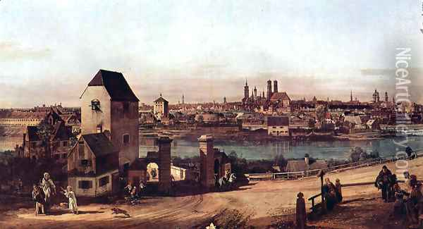 View from Munich, The Bridge and the Isar Oil Painting - (Giovanni Antonio Canal) Canaletto