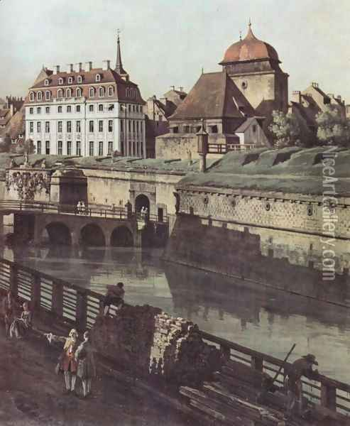 View of Dresden, the fortress plants in Dresden, fortified with trenches bridge between Wilschen gate pillar and pos Oil Painting - (Giovanni Antonio Canal) Canaletto