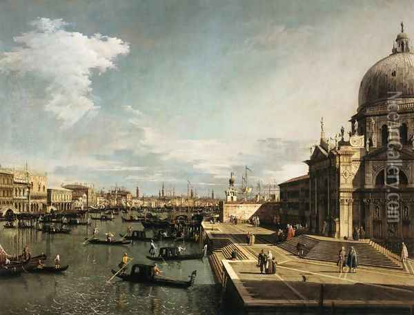 Entrance to the Grand Canal and the Church of La Salute Oil Painting - (Giovanni Antonio Canal) Canaletto
