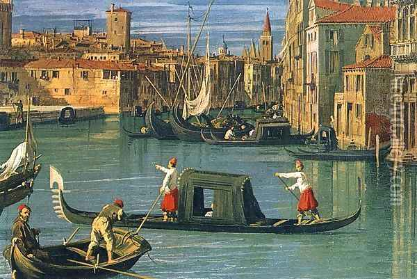 The Grand Canal and the Church of the Salute (detail) 2 Oil Painting - (Giovanni Antonio Canal) Canaletto