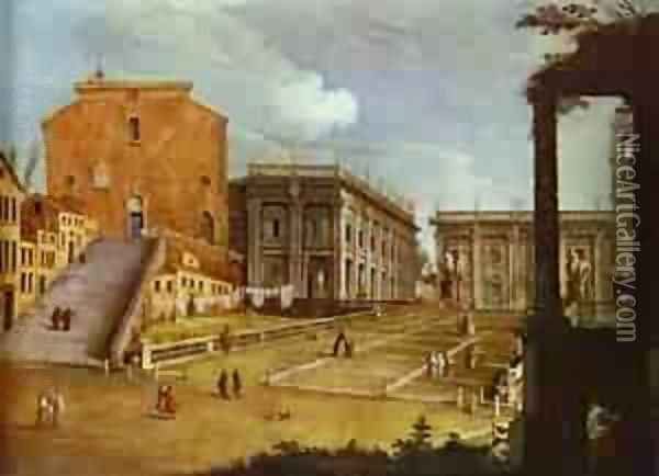Capitol Square In Rome 1749 Oil Painting - (Giovanni Antonio Canal) Canaletto
