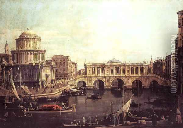 Capriccio The Grand Canal, with an Imaginary Rialto Bridge and Other Buildings Oil Painting - (Giovanni Antonio Canal) Canaletto