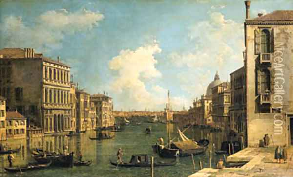 The Grand Canal, Venice, looking east from the Campo di San Vio, with the Palazzo Corner, barges and gondolas, the dome of Santa Maria della Salute Oil Painting - (Giovanni Antonio Canal) Canaletto