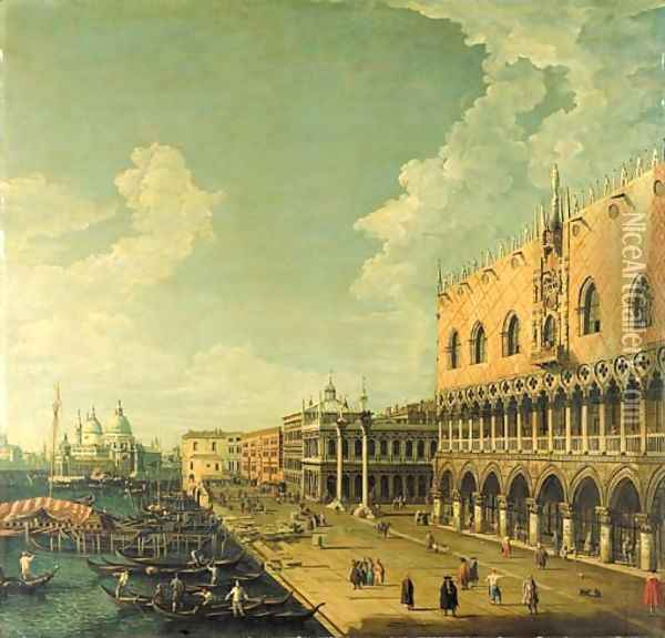 The Doge's Palace, Venice, and the Molo, looking west towards the Punta della Dogana and the Church of Santa Maria della Salute Oil Painting - (Giovanni Antonio Canal) Canaletto