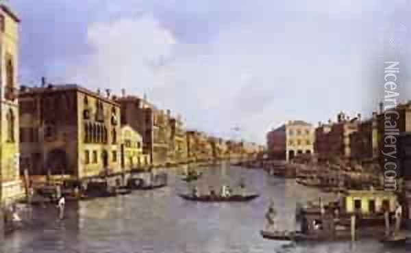 The Grand Canal Looking Down To The Rialto Bridge 1758-63 Oil Painting - (Giovanni Antonio Canal) Canaletto