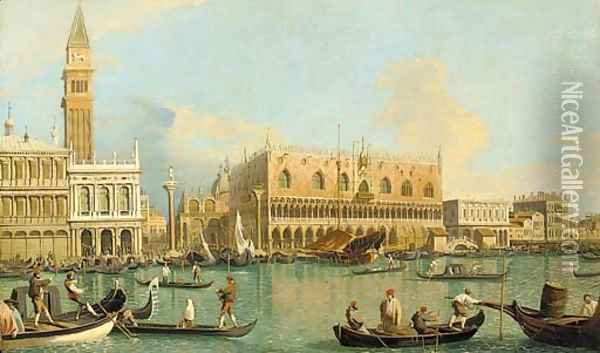 The Molo, the Doge's Palace, and the Piazzetta, Venice, from the Bacino Oil Painting - (Giovanni Antonio Canal) Canaletto