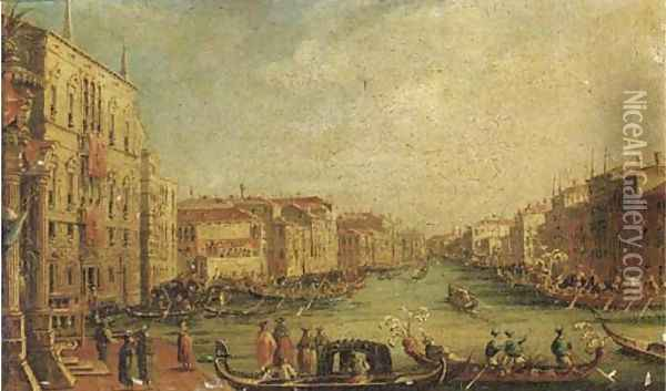 Ascension Day The Regatta on the Grand Canal, Venice, with the Palazzo Balbi on the left Oil Painting - (Giovanni Antonio Canal) Canaletto