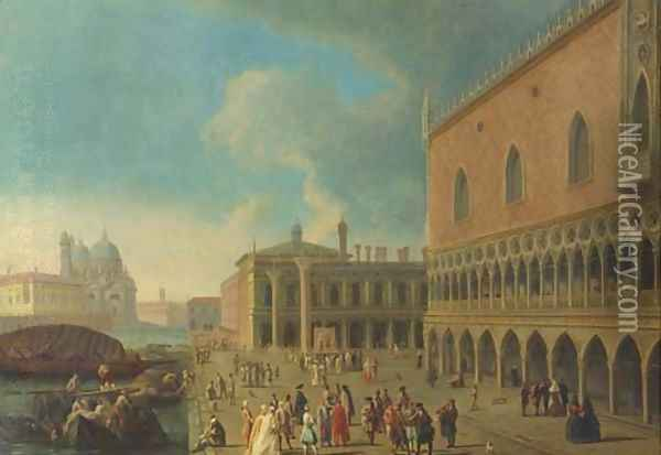 The Doge's Palace and the Piazzetta di San Marco, Venice, with the entrance to the Grand Canal and Santa Maria della Salute Oil Painting - (Giovanni Antonio Canal) Canaletto