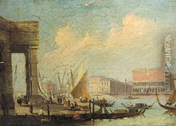 The entrance to the Grand Canal from the Customs House, Venice Oil Painting - (Giovanni Antonio Canal) Canaletto