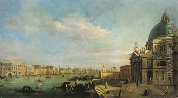 The entrance to the Grand Canal, looking east from the Salute towards the Bacino di San Marco, the Doge's Palace and Riva degli Schiavoni beyond Oil Painting - (Giovanni Antonio Canal) Canaletto