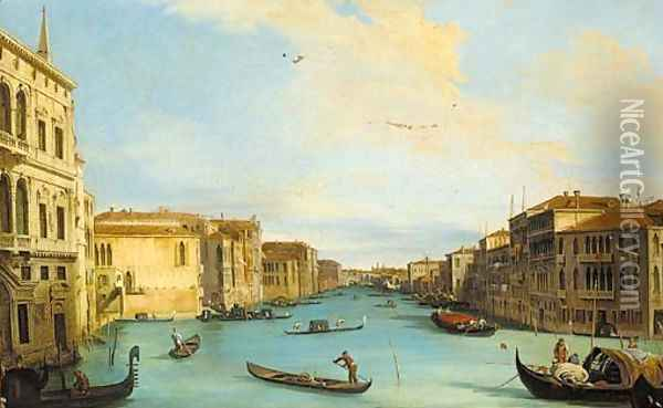 The Grand Canal, looking north-east from the Palazzo Balbi, to the Rialto Bridge Oil Painting - (Giovanni Antonio Canal) Canaletto