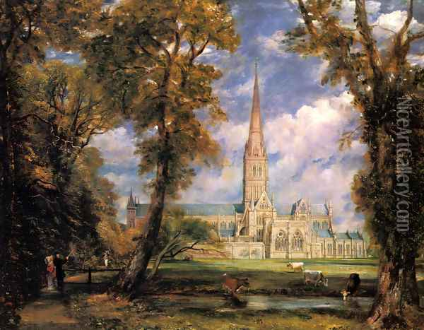 Salisbury Cathedral from the Bishop's Grounds c. 1825 Oil Painting - John Constable