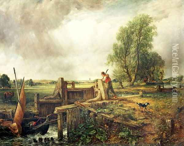A Boat Passing a Lock Oil Painting - John Constable