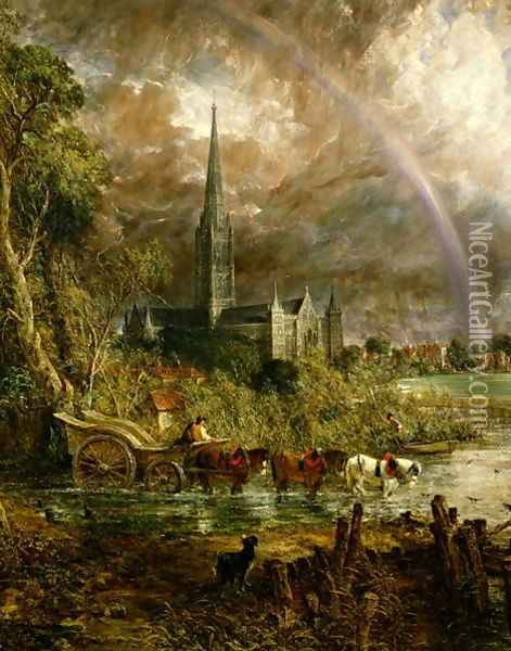 Salisbury Cathedral From the Meadows, 1831 (detail) Oil Painting - John Constable