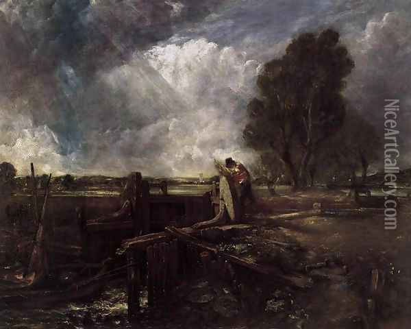 A Boat at the Sluice (sketch) Oil Painting - John Constable
