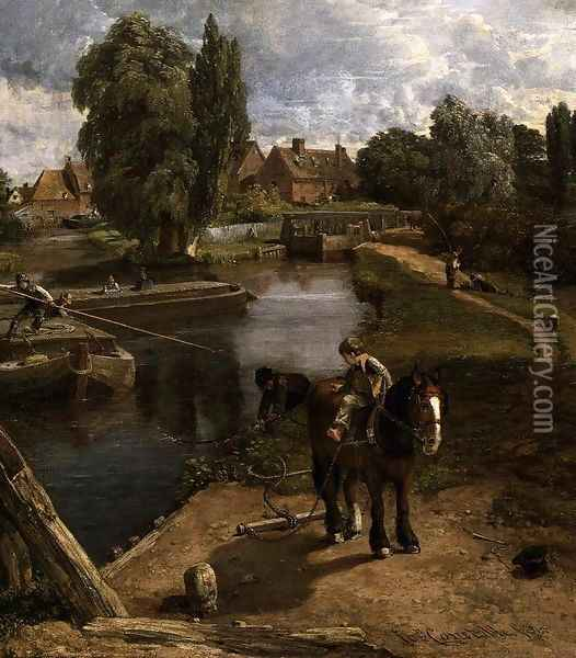 Flatford Mill (detail) 1817 Oil Painting - John Constable